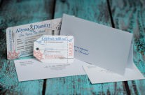 Nautical Boarding Pass Wedding invitations for Emerald Princess Cruise