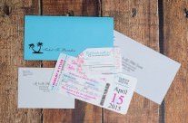 Pink boarding pass wedding invitations to Secrets The Vine, Mexico