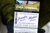 Blue Lift Ticket Save The Date Cards To Aspen, Colorado