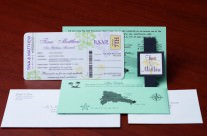 Mint Boarding Pass Wedding Invitations to Majestic Colonial, Punta Cana