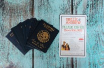 Orange Passport Save The Date Cards to Grand Sunset, Mexico