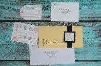 Peach boarding pass wedding invitations to Mexico