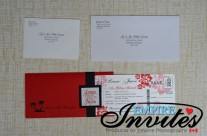 Red Boarding Pass Wedding Invitations to Almyra Hotel Cyprus