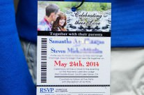 Ski pass / lift ticket wedding invitations to Lakeview Lodge, Tahoe