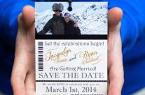 Ski Pass Wedding save the date cards to Whistler, BC