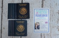 Teal passport wedding save the date cards to Moon Palace Resort, Mexico