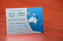 Blue World Map Save The Date Cards to Treasure Island, Fiji