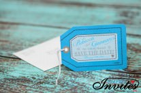 Blue Luggage tag save the dates cards to Paradisus punta cana (1)