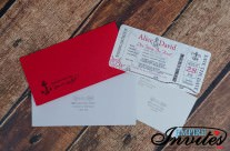 Red Red Nautical Boarding pass wedding invitations at the Toronto Harbourfront