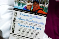 Lift ticket wedding invitations to Kicking Horse in Golden, BC